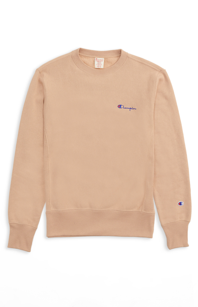 7eab37cb254d Champion Reverse Weave Script Logo Back Sweatshirt - Tan - Slide Culture